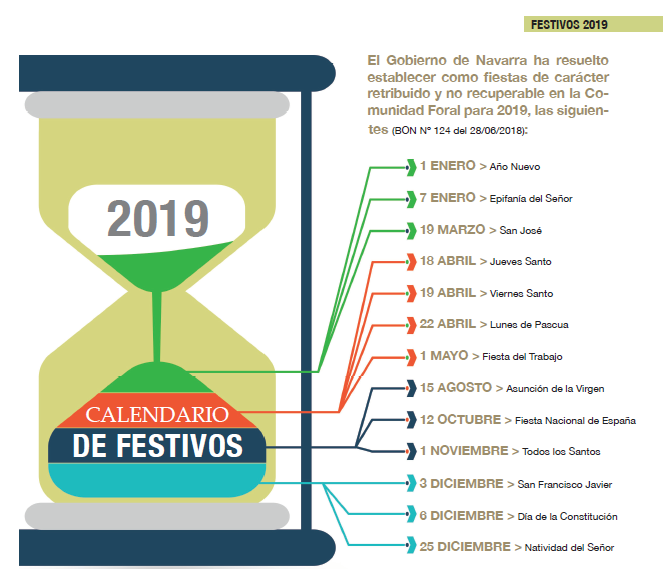 Calendario Laboral 2019 Navarra.Calendario Oficial De Fiestas Laborales Para El 2019 Anapeh